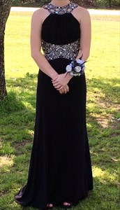 Black Sleeveless Cut Out Waist Chiffon Prom Dress With Embellishments