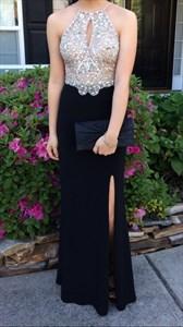 Backless Sleeveless Sequin Embellished Bodice Evening Dress With Split