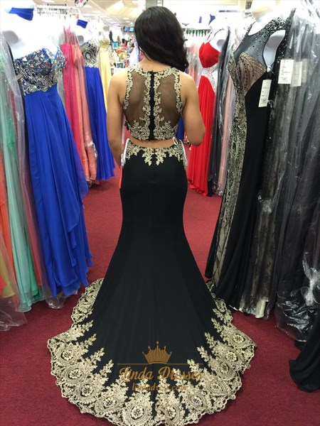 Vintage Sleeveless Floor Length Two Piece Mermaid Prom Dress With Lace
