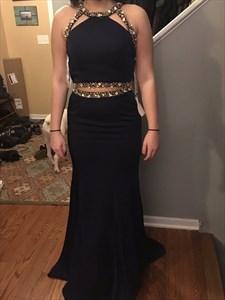 Floor Length Sleeveless Cut Out Waist Mermaid Prom Dress With Beading