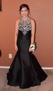 Sleeveless Floor Length Black Satin Mermaid Prom Dress With Beaded Top