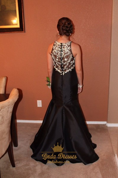 Sleeveless Floor Length Black Satin Mermaid Prom Dress With Beaded Top