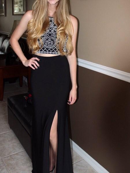 Beautiful Black Sleeveless Two Piece Slit Evening Dress With Beading