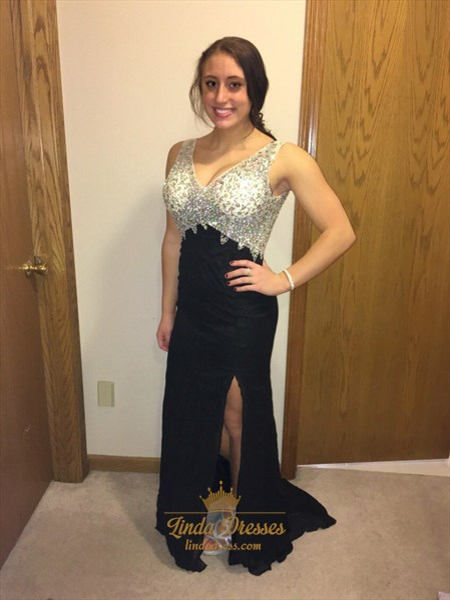 V-Neck Sleeveless Open Back Chiffon Evening Dress With Embellished Top