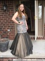 Floor Length Strapless Lace Bodice Drop Waist Tulle Mermaid Prom Gown