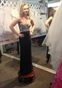 Show details for Strapless Lace Embellished Floor Length Evening Dress With Open Back