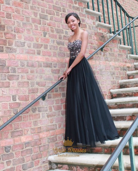 Black Strapless Sweetheart Beaded Embellished A-Line Tulle Prom Dress