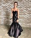 Black Strapless Applique Embellished Floor Length Mermaid Formal Dress