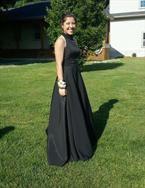 Elegant Black A-Line Open Back Prom Dress With Beaded Halter And Waist