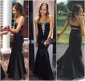 Black Strapless Sweetheart Beaded Top Floor Length Mermaid Prom Gown