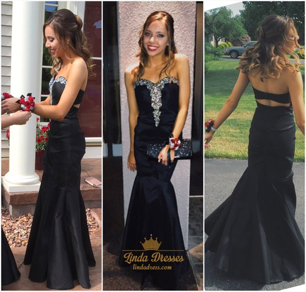 Show details for Black Strapless Sweetheart Beaded Top Floor Length Mermaid Prom Gown