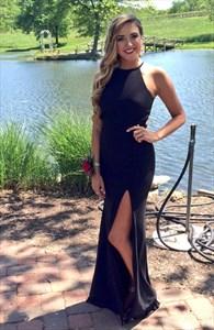 Simple Black Sleeveless Cut Out Waist Chiffon Evening Dress With Slit