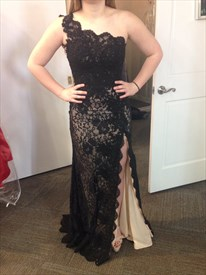 Floor Length Black One Shoulder Lace Overlay Prom Dress With Side Slit