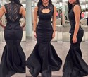 Show details for Elegant Black Sleeveless Satin Mermaid Prom Gown With Lace Embellished