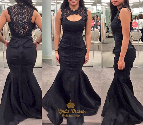 Elegant Black Sleeveless Satin Mermaid Prom Gown With Lace Embellished