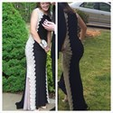 Show details for Elegant Sleeveless Two Tone Lace Embellished Chiffon Mermaid Prom Gown