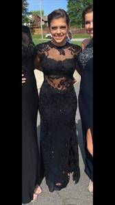 Cap Sleeve Sheer Neckline Black Lace Formal Dress With Keyhole Back