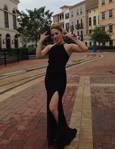 Simple Black Floor Length Cut Out Waist Chiffon Evening Gown With Slit
