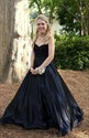 Elegant A-Line Black Strapless Beaded Bodice Floor Length Formal Dress