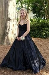 Elegant A-Line Black Strapless Beaded Bodice Floor Length Formal Dress