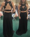 Show details for Sleeveless Black Two Piece Lace Bodice A-Line Prom Dress With Keyhole