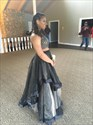 Show details for Two Piece A-Line Floor Length Black Evening Dress With Beaded Bodice
