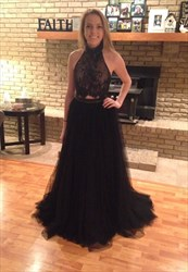 Sleeveless Two Piece Black Lace Top Tulle Prom Dress With Open Back