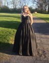 Show details for Simple Floor Length Strapless Sweetheart Black A-Line Satin Prom Dress