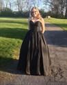 Simple Floor Length Strapless Sweetheart Black A-Line Satin Prom Dress