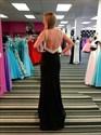 Show details for Black Beaded Embellished Neckline And Back Evening Dress With Split