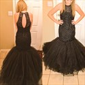Show details for Black Sleeveless Beaded Bodice Drop Waist Tulle Mermaid Formal Dress