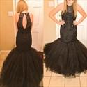 Black Sleeveless Beaded Bodice Drop Waist Tulle Mermaid Formal Dress