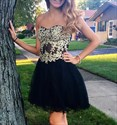 Show details for A-Line Strapless Short Tulle Homecoming Dress With Lace Embellished