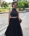 Sleeveless High-Neck Two Piece Open Back Tulle Prom Dress With Beading