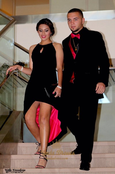 Beaded Top Sleeveless Black Split Long Prom Dress With Front Keyhole
