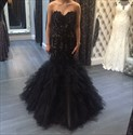 Show details for Black Strapless Lace Bodice Tulle Mermaid Dropped Waist Formal Dress