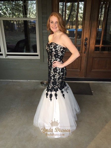 White And Black Strapless Lace Embellished Tulle Mermaid Prom Dress