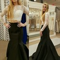 Elegant Two Piece Illusion Long Sleeve Lace Bodice Mermaid Prom Dress