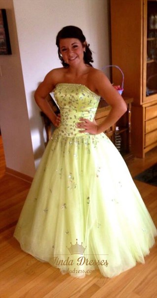 Light Green Strapless Floor Length Ball Gown With Beaded Embellished