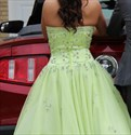 Show details for Light Green Strapless Floor Length Ball Gown With Beaded Embellished