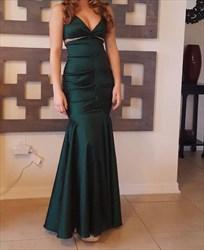 Dark Green Sleeveless V-Neck Sheath Mermaid Evening Dress With Beading