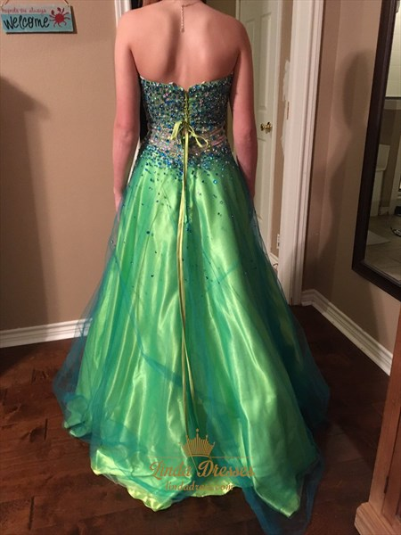 Kelly Green A-Line Strapless Beaded Embellished Floor Length Prom Gown