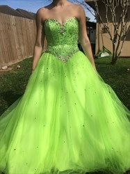 A-Line Yellow Green Strapless Sequin-Embellished Tulle Evening Dress