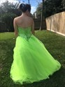 Show details for A-Line Yellow Green Strapless Sequin-Embellished Tulle Evening Dress