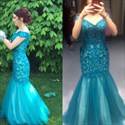 Show details for Elegant Off Shoulder V-Neck Lace Bodice Drop Waist Mermaid Prom Dress