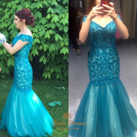 Elegant Off Shoulder V-Neck Lace Bodice Drop Waist Mermaid ...