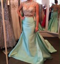 Light Blue Cap Sleeve Two Piece Mermaid Dress With Sheer Beaded Bodice