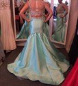 Show details for Light Blue Cap Sleeve Two Piece Mermaid Dress With Sheer Beaded Bodice