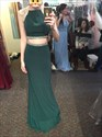 Show details for Hunter Green Elegant Cap Sleeve Mermaid Long Evening Gown With Beading