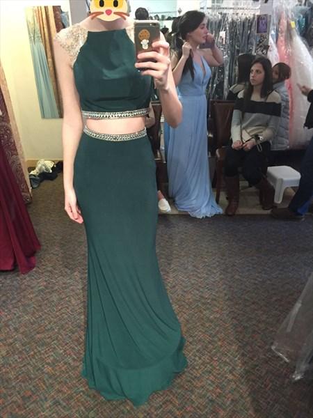 Hunter Green Elegant Cap Sleeve Mermaid Long Evening Gown With Beading
